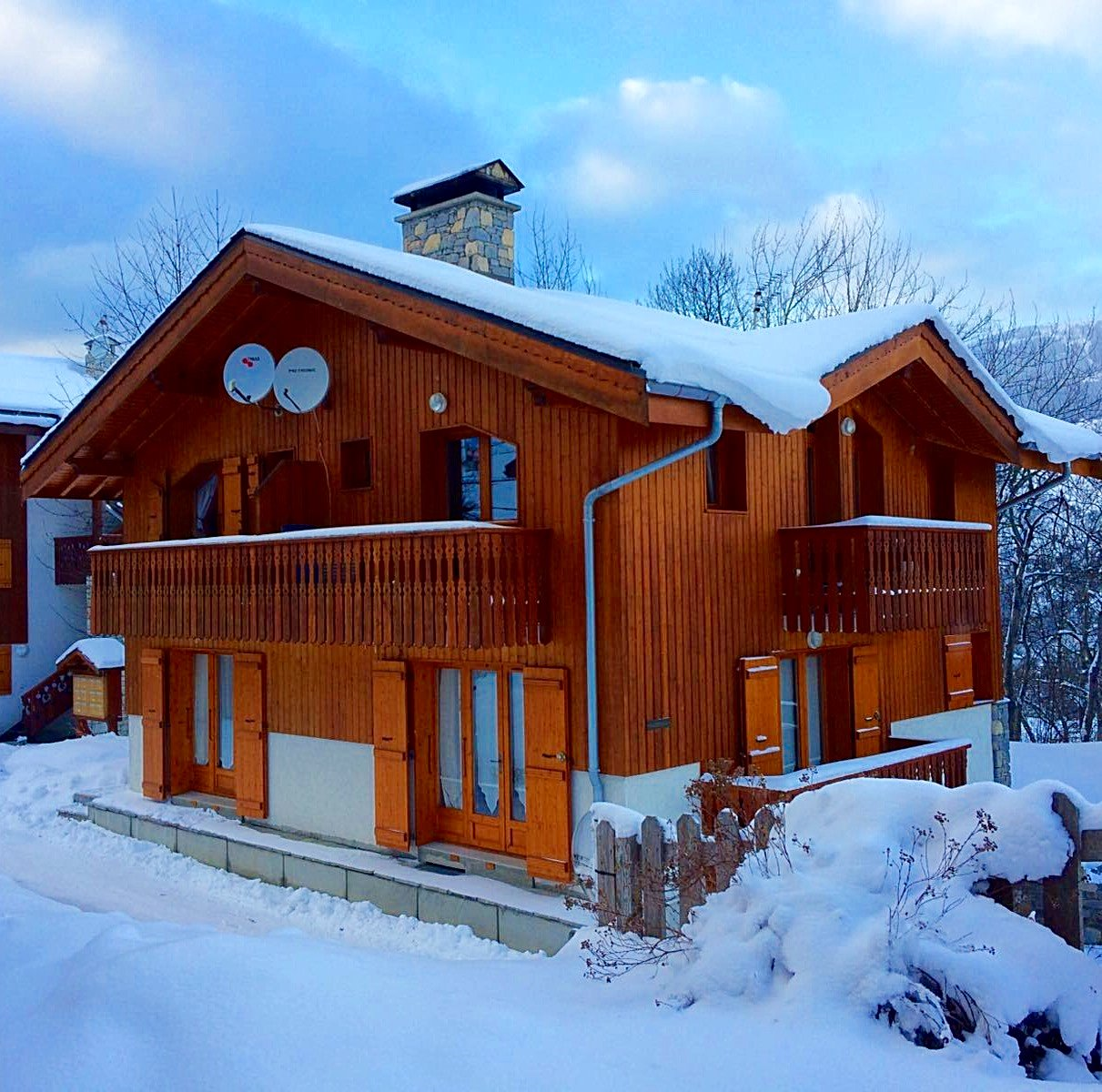 Chalet in snow