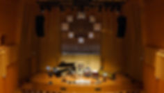 Belle Chen Korean stage setup for perfomrance in concert hall.