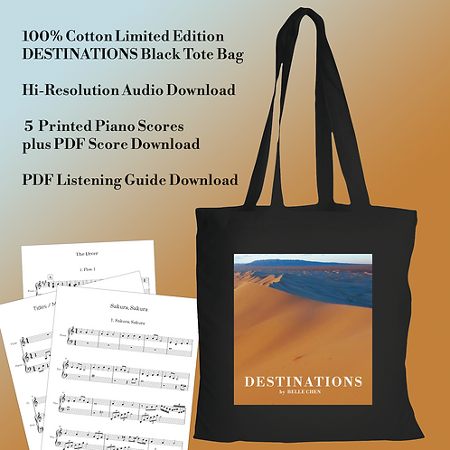 Limited Edition DESTINATIONS Tote Bag, Music Scores, Listening Guide Bundle