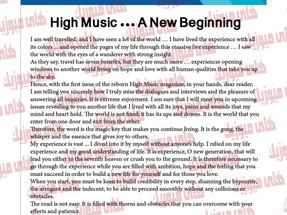 High Music ... A New Beginning