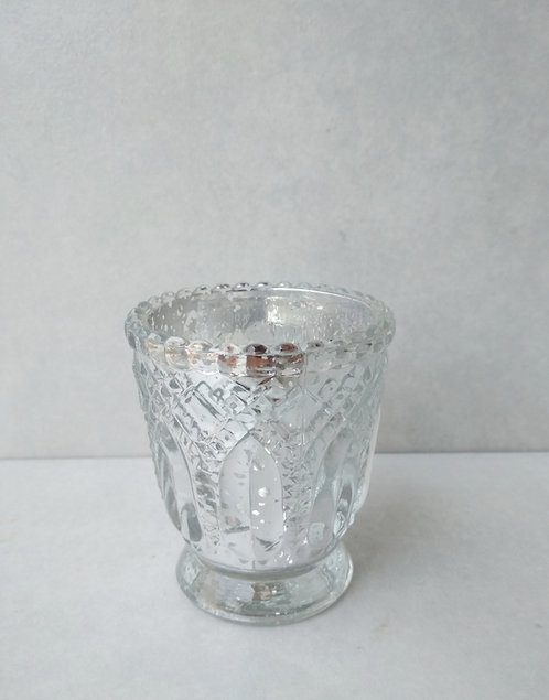 MD014a - Embossed Silver Votive