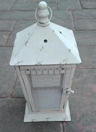 MD015b-  Distressed cream lantern L