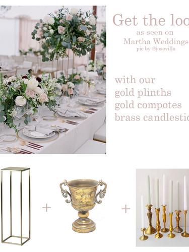 Gold plinths, candlesticks and planter