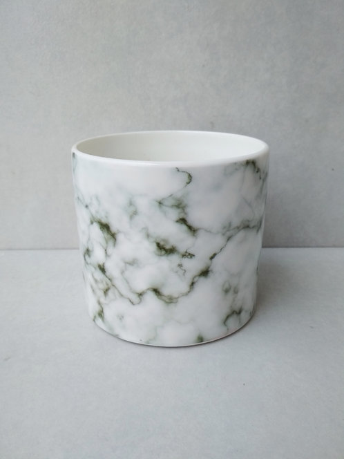 MD022c - White and grey/black marble ceramic planter