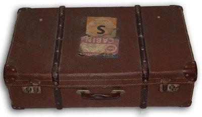 MD082- Brown Vintage Suitcase with Stickers