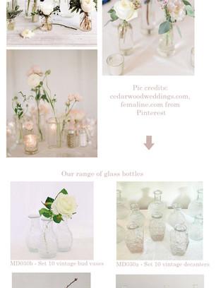 Glass bottles as centerpieces