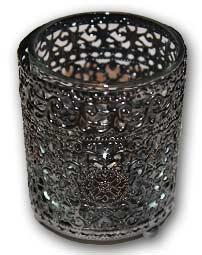 MD019 - Metal Encased Glass Votive