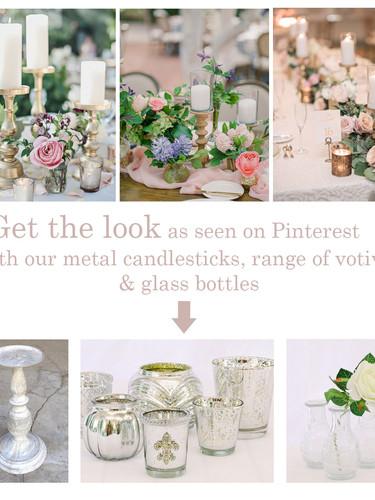 Candlesticks, votives and bud vases