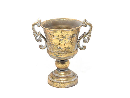 MD028- Gold Distressed Compote