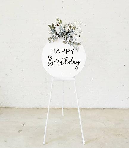 MD062b -Happy Birthday on white circle