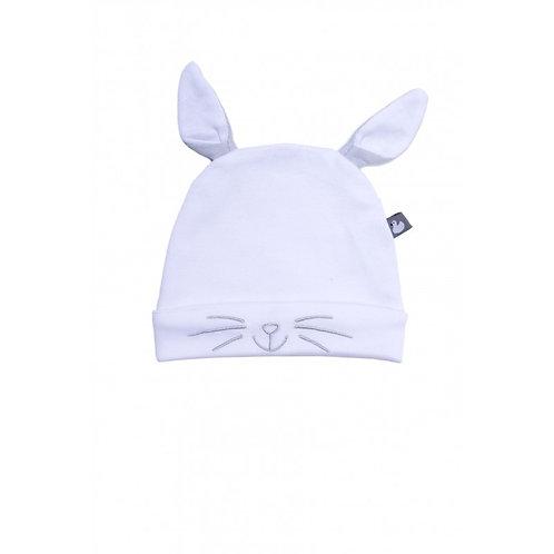 Bonnet Petit Lapin avec oreilles blanc/gris