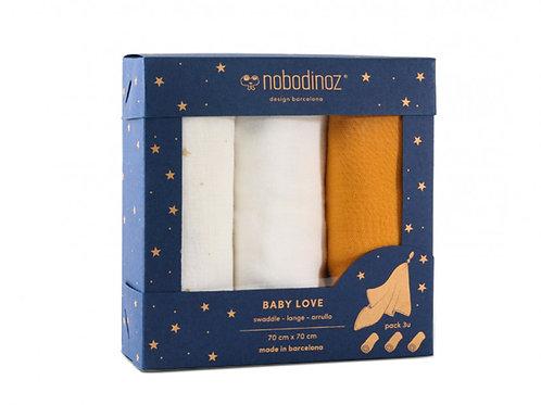Boîte 3 langes Baby Love pack jaune - Nobodinoz