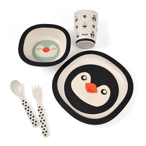 Coffret repas pingouin en bambou (5 pièces)
