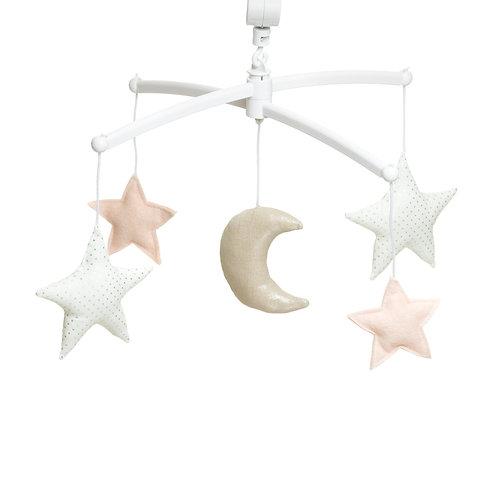 Mobile musical Lune et étoiles nude argenté - Pouce & Lina
