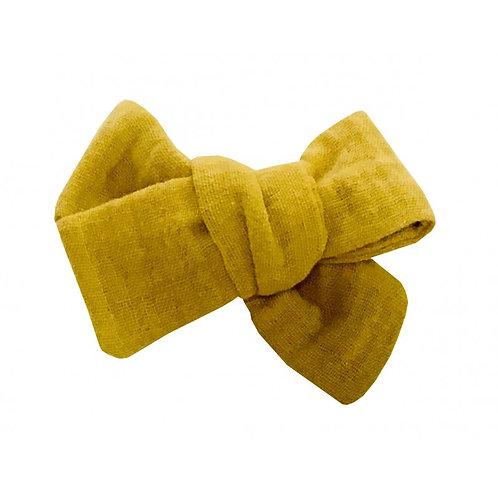 Grande barrette anti-glisse double gaze moutarde