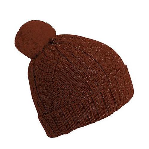 Bonnet brillant en laine avec pompon Cognac - Collégien Officiel