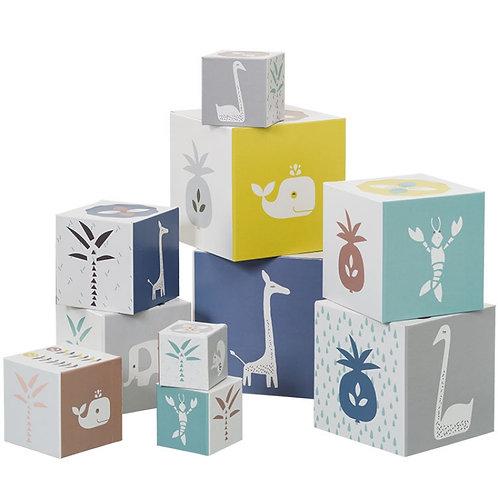 Cubes empilables animaux bleus ( 10 cubes) - Fresk