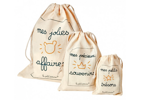 Lot de 3 jolis pochons en tissu pour conserver ses souvenirs - Le Petit Pousse