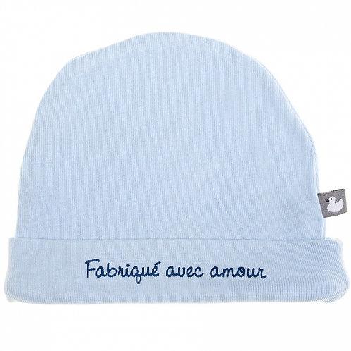 Bonnet de naissance Fabriqué avec amour rose pastel - BB&co