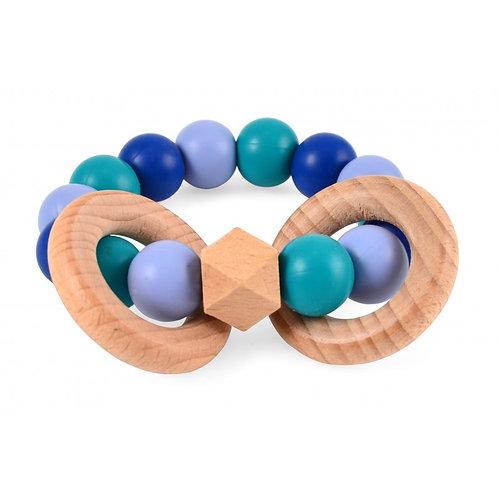 Hochet bois et silicone ciel, bleu foncé, émeraude - Magni