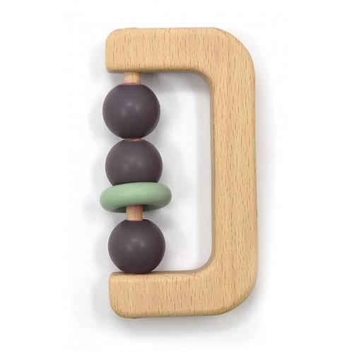 Hochet bois avec billes silicone taupe - Magni