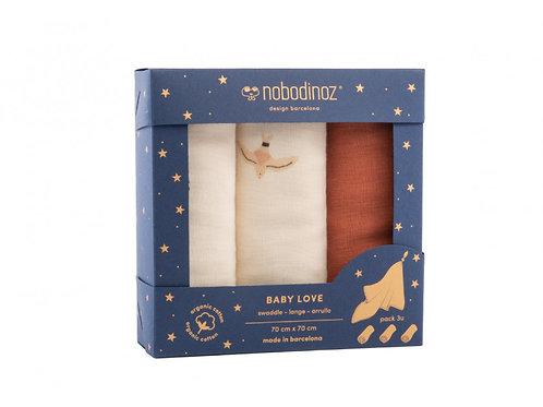 Boîte 3 langes Baby Love pack toffee - Nobodinoz