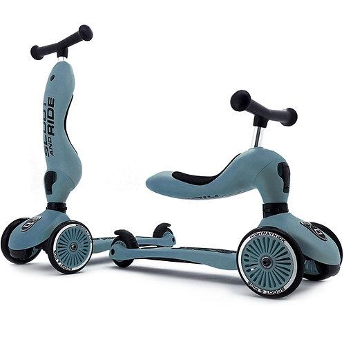 Trottinette évolutive 2 en 1 bleu acier - Scoot and Ride