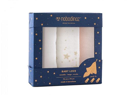 Boîte 3 langes Baby Love pack rose - Nobodinoz