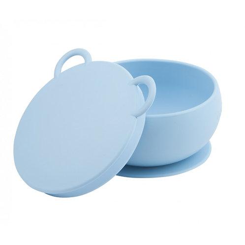 Bol antidérapant + couvercle en silicone Minikoioi - Bleu