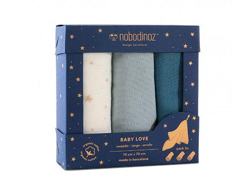 Boîte 3 langes Baby Love pack bleu - Nobodinoz