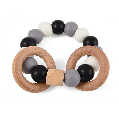 Hochet bois et silicone noir, gris, blanc - Magni