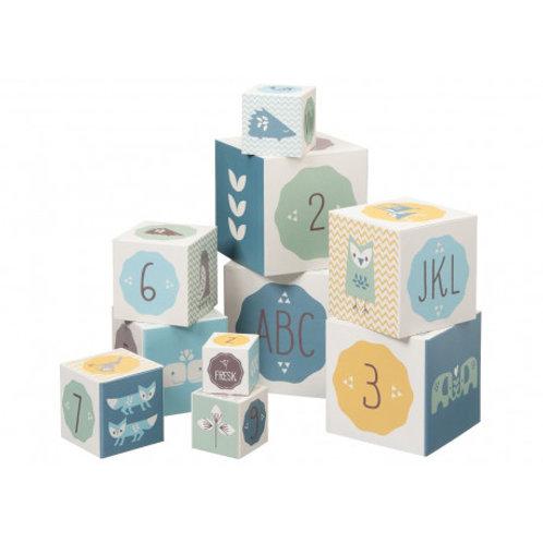Cubes empilables bleus ABC ( 10 cubes) - Fresk