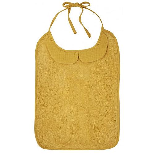 Grand bavoir bambou et gaze de coton moutarde - BB&Co