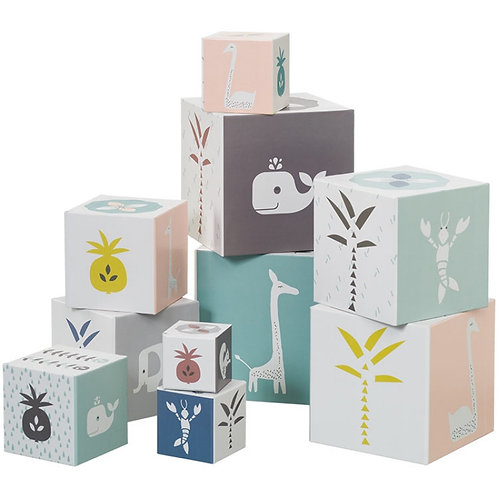 Cubes empilables animaux roses ( 10 cubes) - Fresk