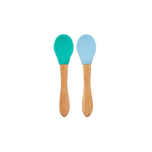 Lot 2 cuillères silicone et bambou vert et bleu