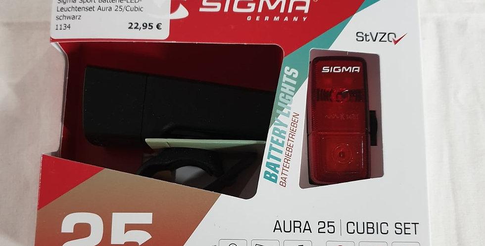 """SIGMA SPORT Batterie-LED-Leuchtenset """"Aura 25/Cubic"""""""