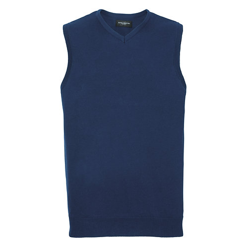 J716M Russell V-neck sleeveless knitted sweater