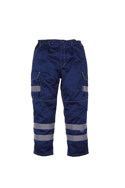 YK073 YOKO Hi-vis polycotton cargo trousers with knee pad pockets (HV018T/3M)