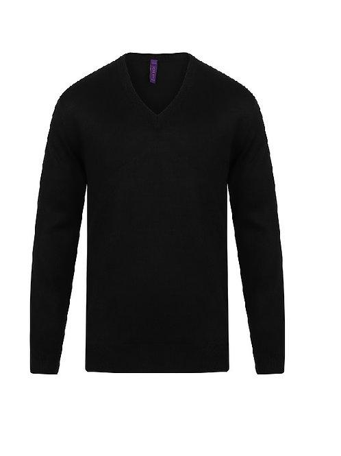 HB760 Henbury Cashmere touch acrylic v-neck jumper