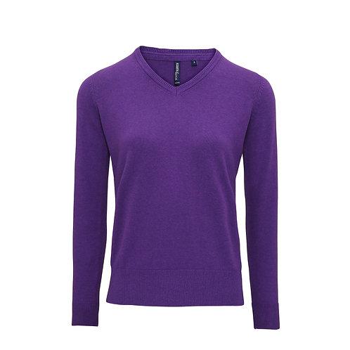 AQ043 Asquith & Fox Women's cotton blend v-neck sweater