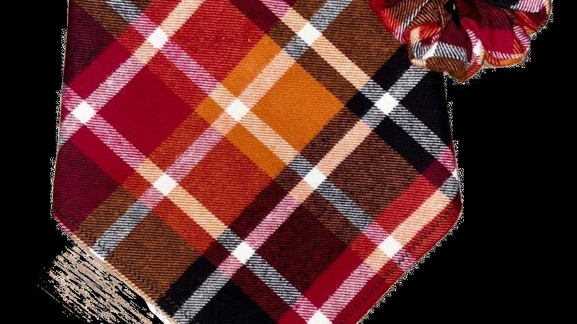 Autumn Rust Plaid Bandana + Scrunchie Set