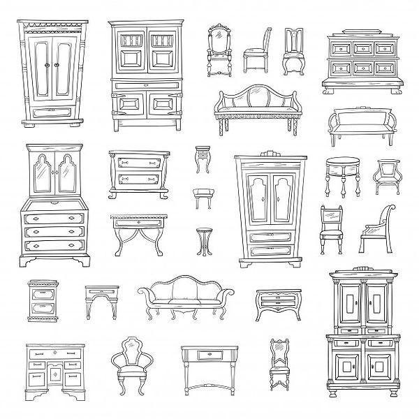 Antik Möbel Skizze
