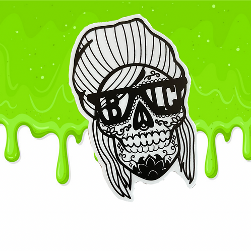 Hipster Sugar Skull Vinyl Sticker
