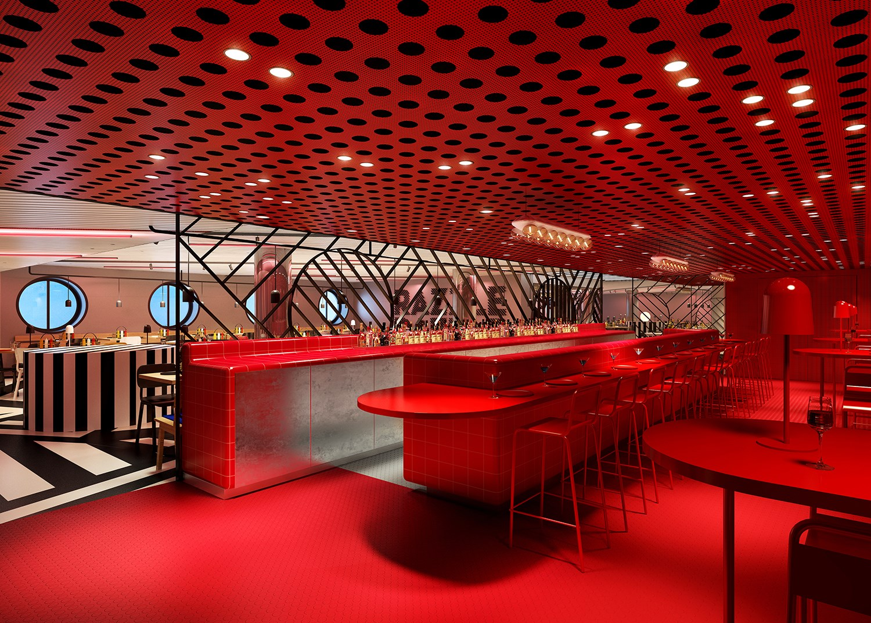 Red Bar in Razzle Dazzle