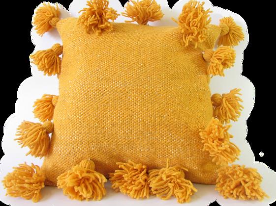 Yellow Pom Pom Cushion