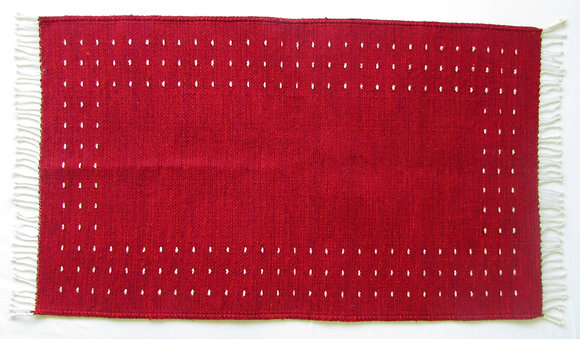 Red White Worm Rug