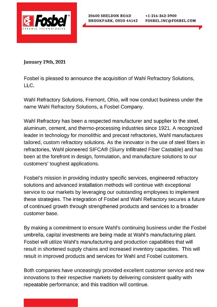 _Fosbel Press Release for WAHL aquisitio