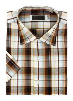 Brown blue orange button-up plaid shirt