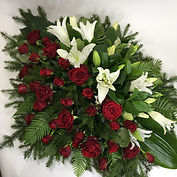 Mourning wreath for funeral. Red, green