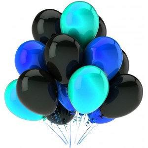 Облако из черных,синих и бирюзовых шаров (10 шт)